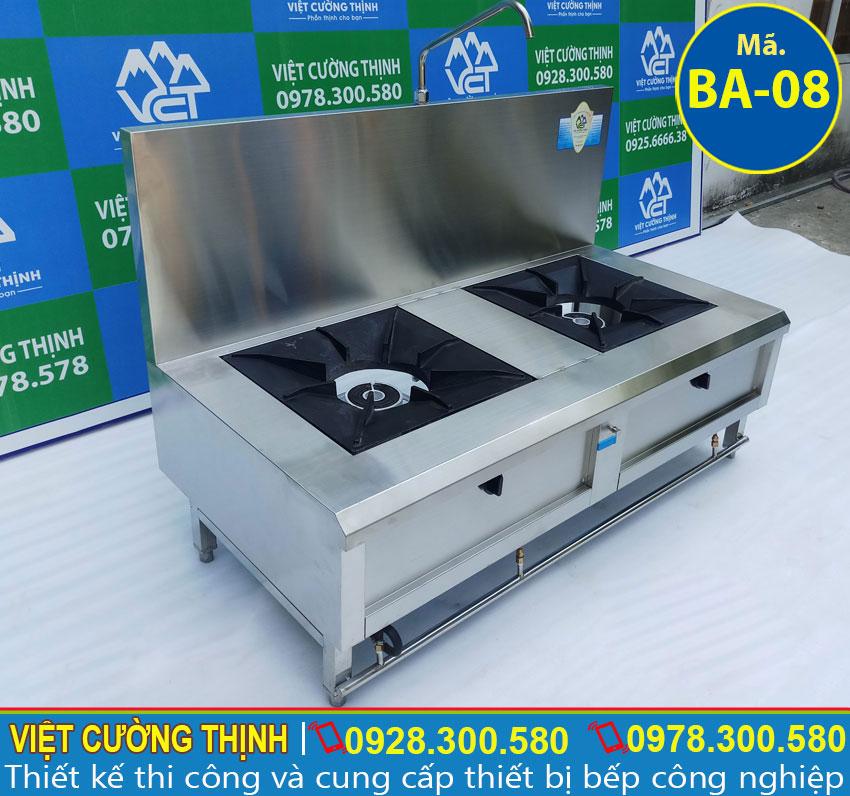 Bếp inox công nghiệp, bếp á công nghiệp, bếp gas đôi inox sản xuất Việt Cường Thịnh