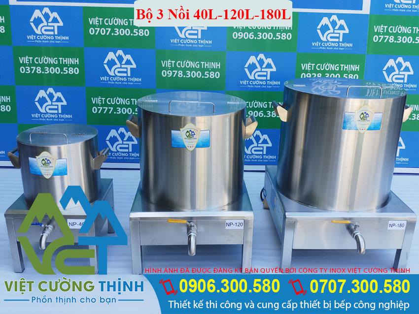 Bộ nồi nấu phở bằng điện, bộ nồi hầm xương, nồi nấu nước lèo điện sản xuất Inox Việt Cường Thịnh.