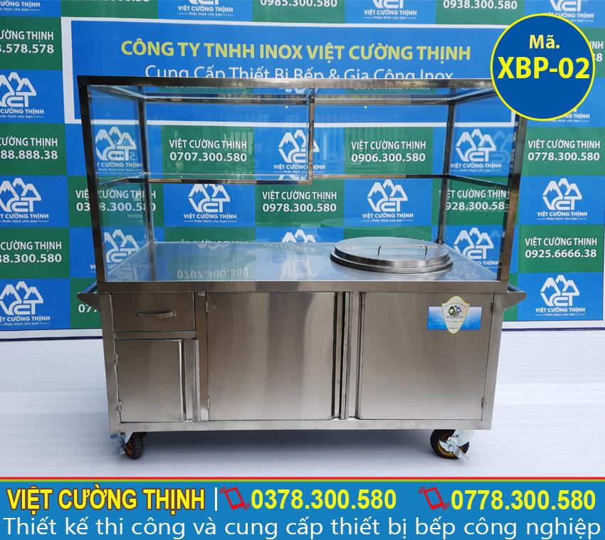 Xe bán hủ tiếu inox, tủ bán phở tích hợp nồi nấu nước lèo bằng điện cao cấp.