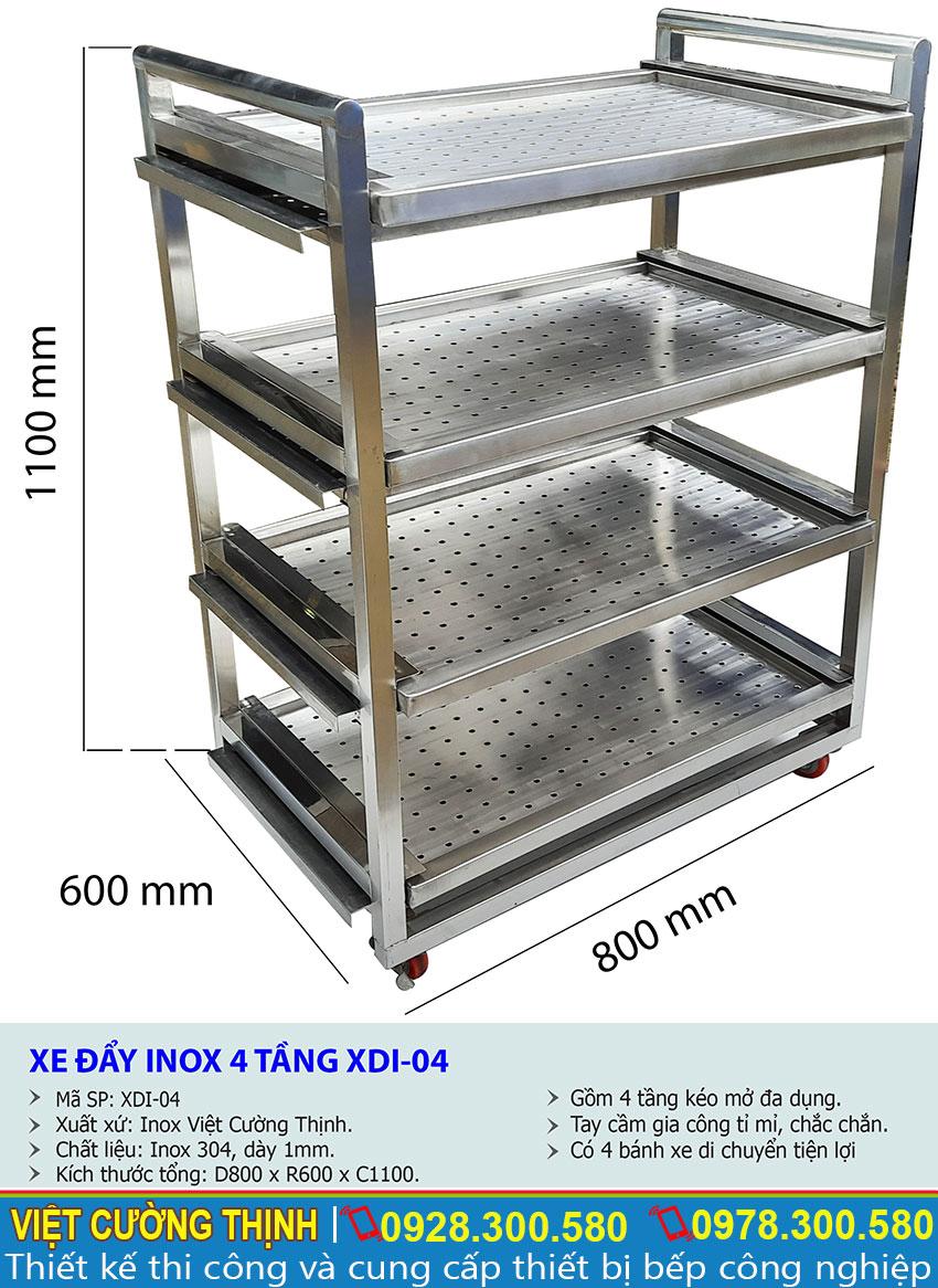 Kích thước tổng thể của xe đẩy inox công nghiệp, xe đầy hàng inox 4 tầng sản xuất Inox Việt Cường Thịnh