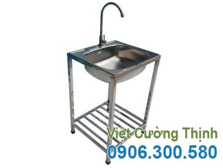 mẫu bồn rửa inox gia đình có chân, chậu rửa inox đình sản xuất Inox Việt Cường Thịnh.