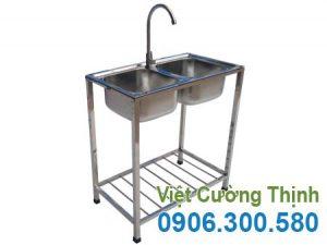 Chậu rửa đôi inox gia đình có chân, bồn rửa 2 hộc có chân sản xuất Inox Việt Cường Thịnh.