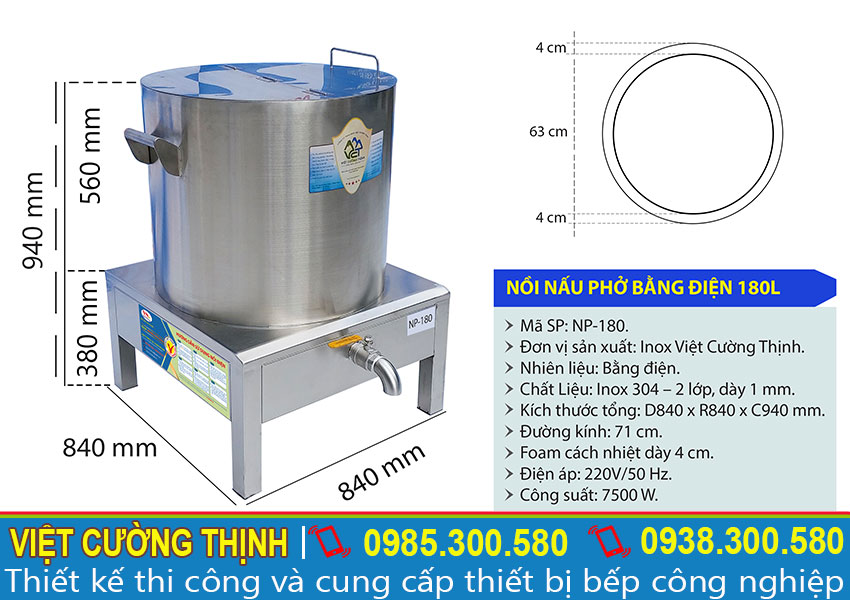 Kích thước Nồi hầm xương bằng điện 180L, nồi nấu nước lèo bằng điện,nồi nấu phở bằng điện sản xuất Việt Cường Thịnh