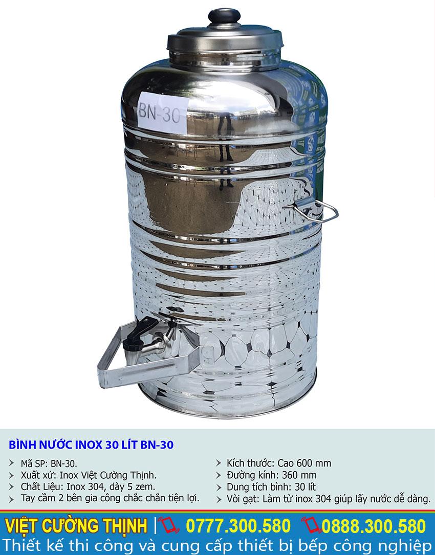 Kích thước tổng thể của bình đựng nước đá, nước uống inox 30 lít sản xuất tại Inox Việt Cường Thịnh.