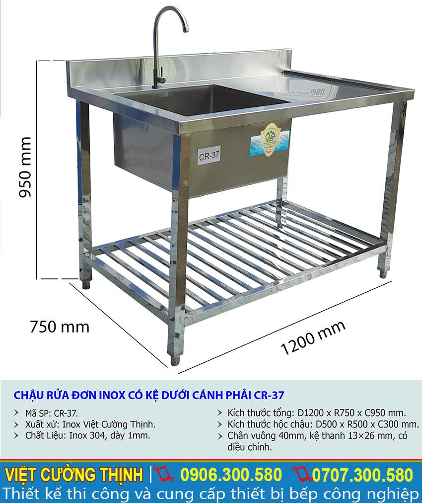 Kích thước bồn rửa bát inox 1 ngăn có kệ dưới và bàn rửa phải CR-37.