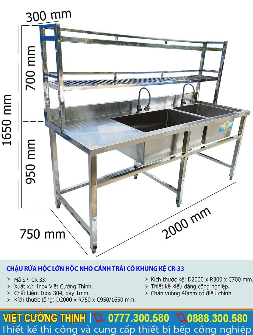 Kích thước bồn rửa chén inox 2 ngăn có kệ trên và kệ dưới CR-33 sản xuất Inox Việt Cường Thịnh.