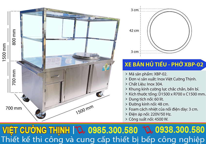 Kích thước xe bán phở inox, tủ bán phở tích hợp nồi nấu nước lèo bằng điện XBP-01 sản xuất Inox Việt Cường Thịnh.