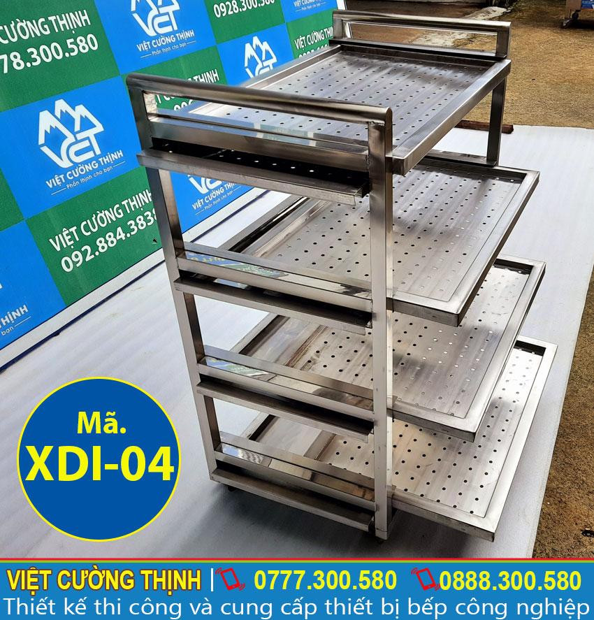 Xe đẩy inox công nghiệp sản xuất với vật liệu bằng inox 304 cao cấp, có độ, bền cao.