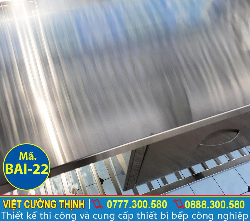 Mặt bàn bếp inox | Bàn chặt thịt inox | Bàn sơ chế thực phẩm có tủ và kệ trên inox BAI-22.