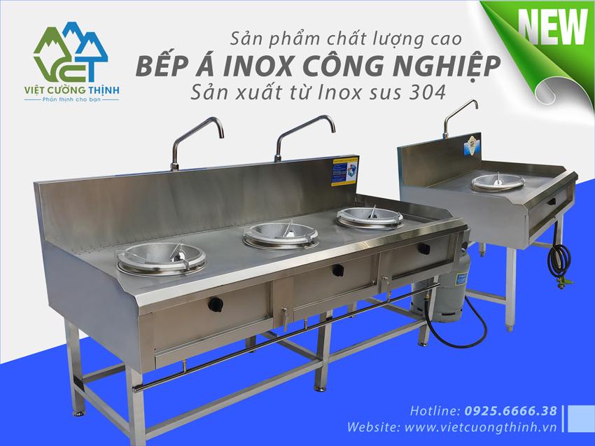 Bếp inox công nghiệp, bếp khè inox công nghiệp, bếp gas công nghiệp inox cao cấp sản xuất Việt Cường Thịnh.