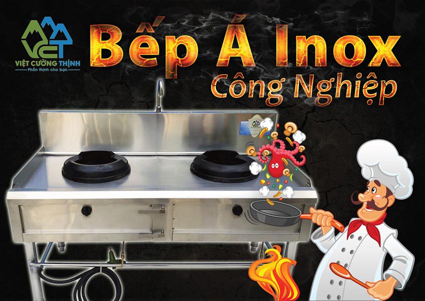 Công dụng bếp inox công nghiệp, bếp khè inox công nghiệp, bếp gas công nghiệp sản xuất Inox Việt Cường Thịnh.