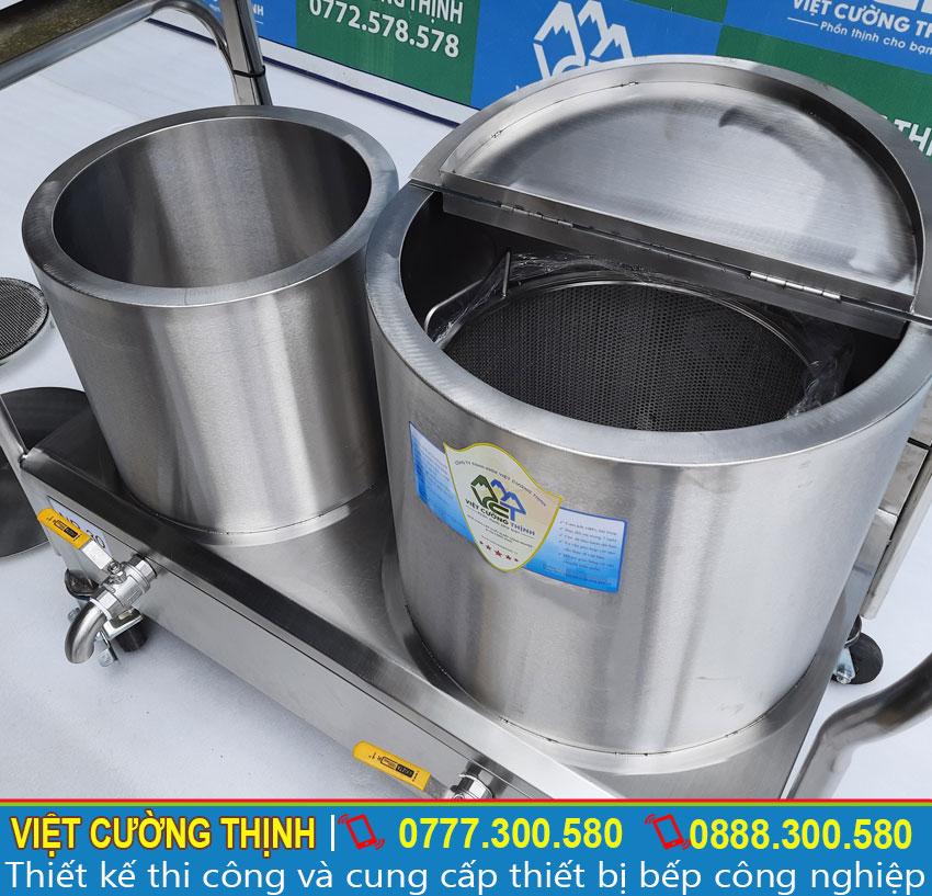 Bộ nồi nấu phở bằng điện sản xuất bằng inox 304, có độ bền cao và chịu nhiệt tốt.