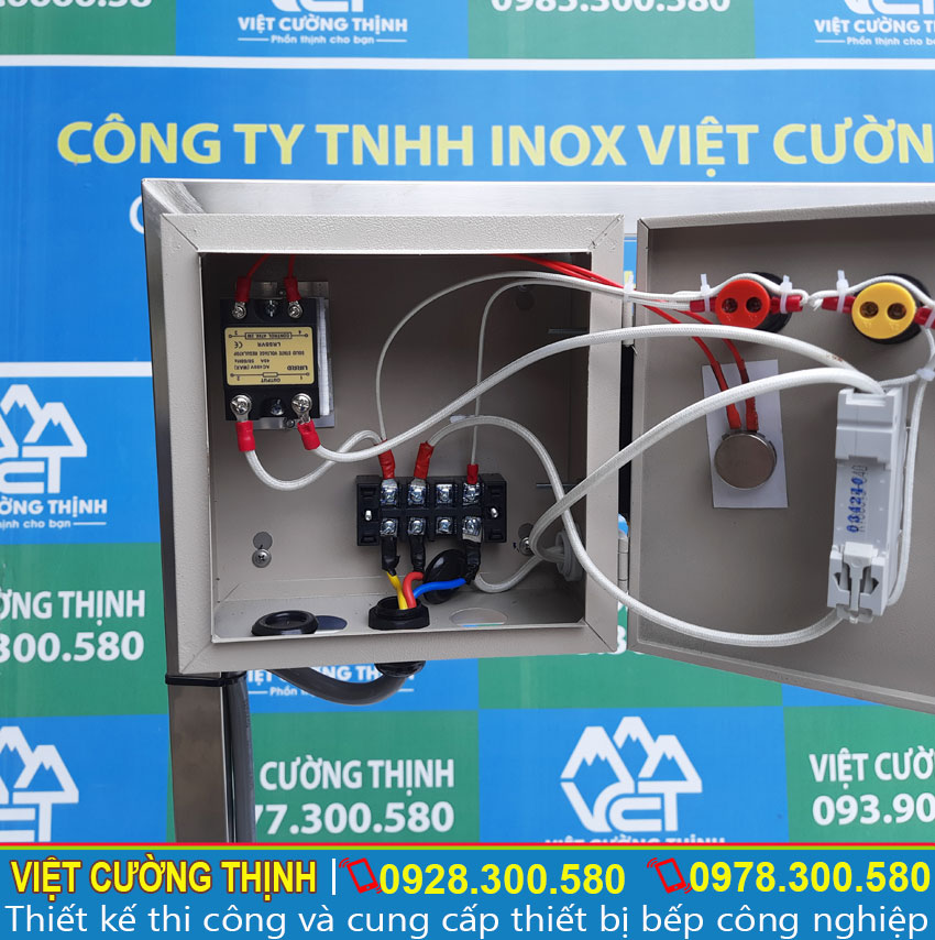 Hộp điện rời tích hợp trong Bộ nồi nấu hủ tiếu bằng điện | Bộ nồi nấu phở bằng điện |  Bộ nồi hầm xương nấu nước lèo bằng điện 20-60 lít.