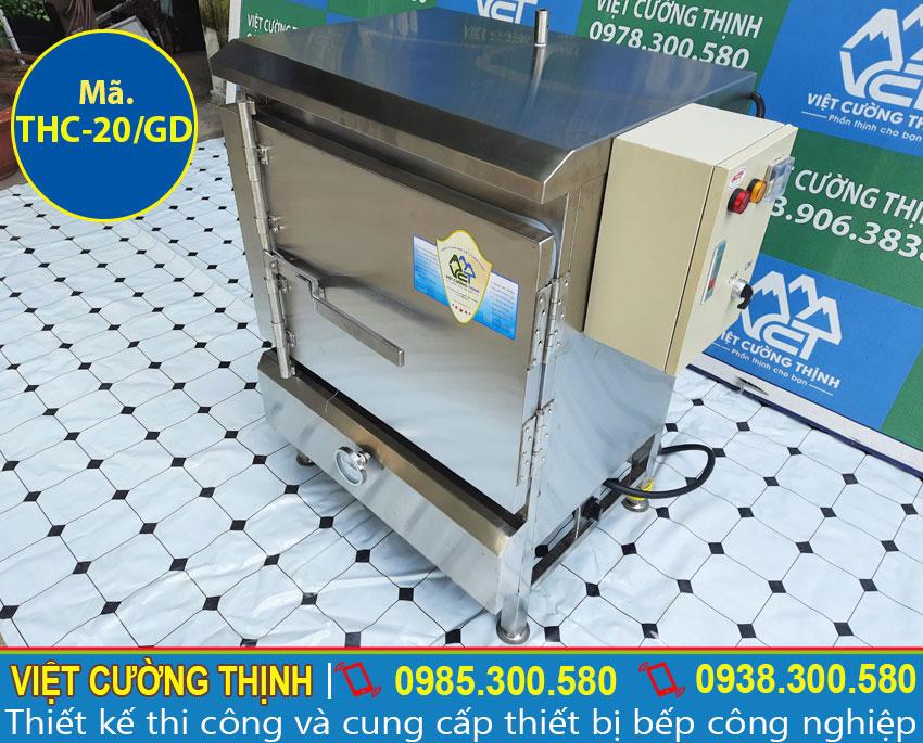 Hình ảnh tổng thể của tủ nấu cơm công nghiệp 20 kg, tủ hấp cơm công nghiệp bằng gas và điện 20 kg.