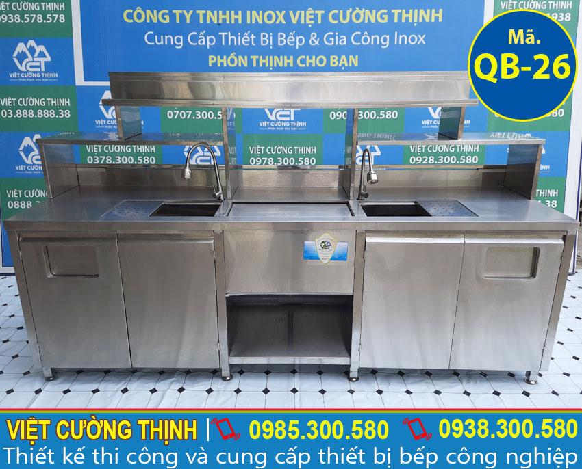 Thiết kế quầy bar inox, thiết kế quầy pha chế trà sữa, quầy pha chế bằng inox tại Việt Cường Thịnh