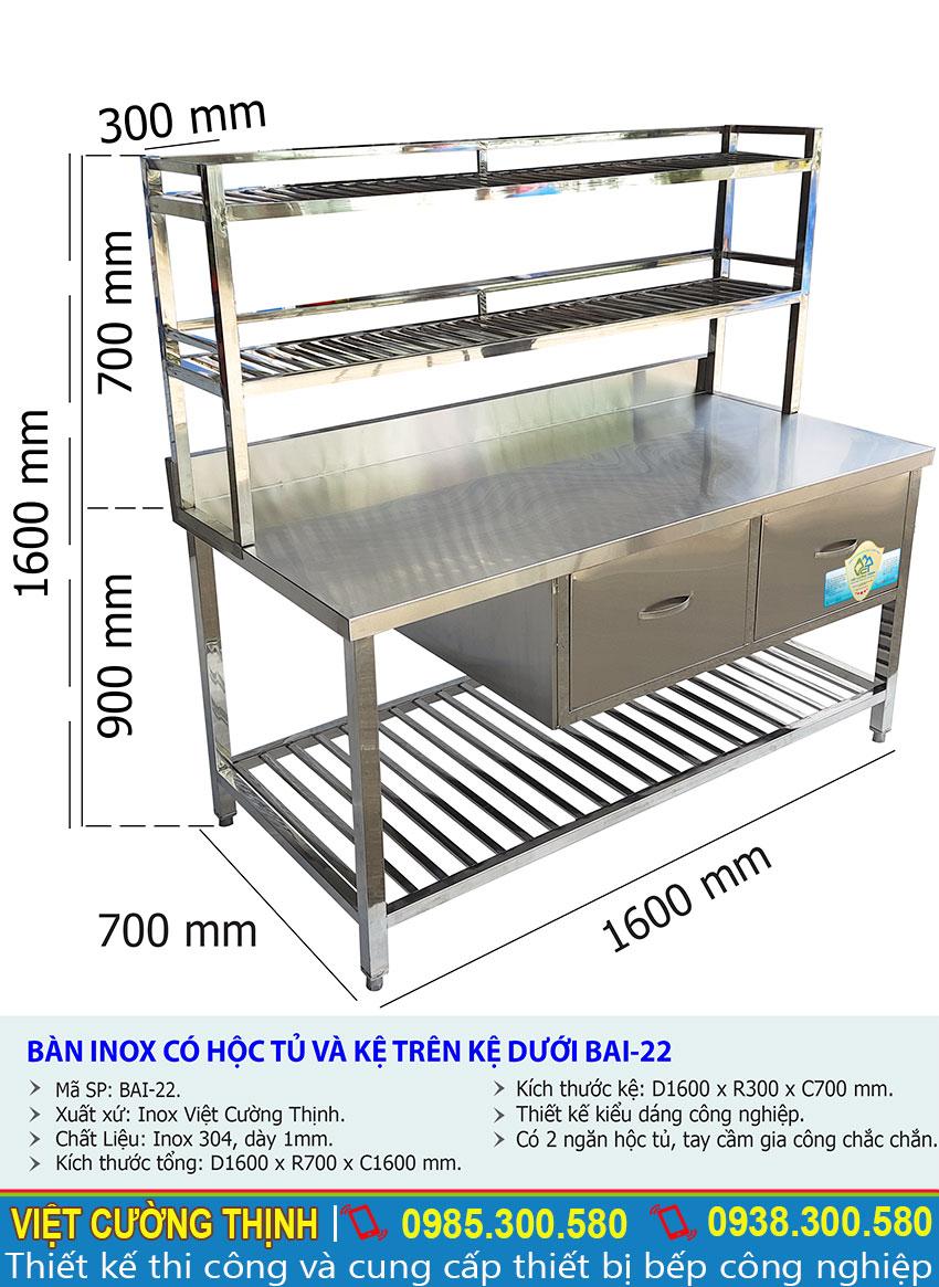 Kích thước của bàn bếp inox | Bàn chặt thịt inox | Bàn sơ chế thực phẩm có tủ và kệ trên inox BAI-22.
