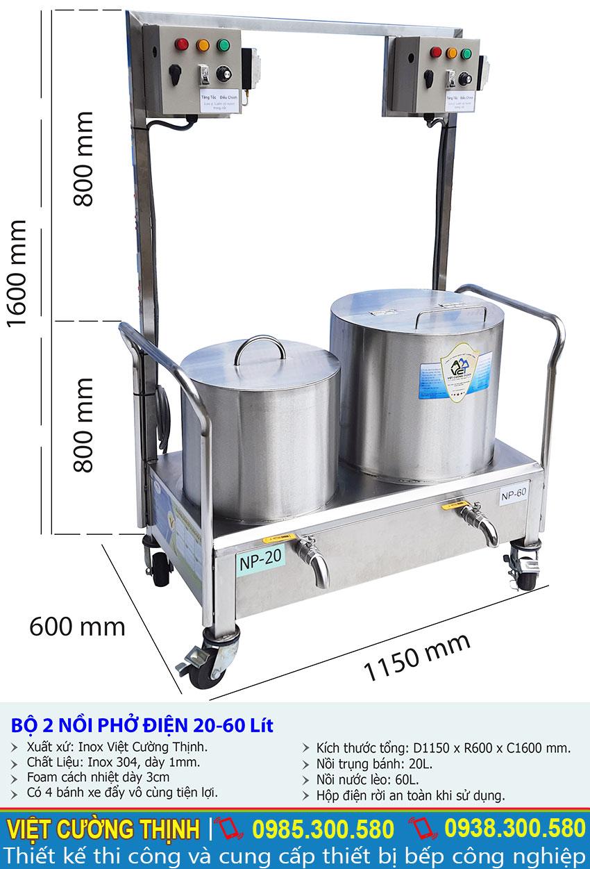 Kích thước về bộ nồi nấu phở bằng điện |  Bộ nồi nấu hủ tiếu bằng điện | Bộ nồi hầm xương nấu nước lèo bằng điện 20-60 lít.