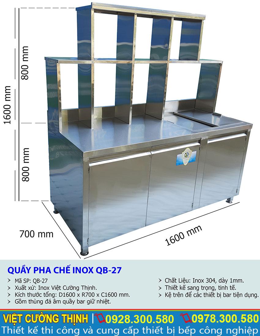 Kích thước tổng thể của quầy pha chế trà sữa cafe inox QB-27.