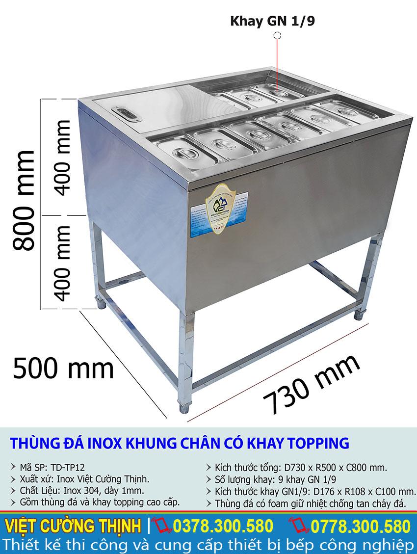 Kích thước của thùng đá inox có khay topping | Tủ đá inox có khay topping TD-TP12