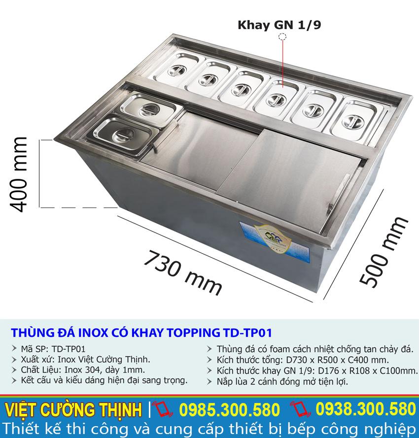 Kích thước tổng thể của thùng đá inox có khay topping âm bàn TD-TP01.