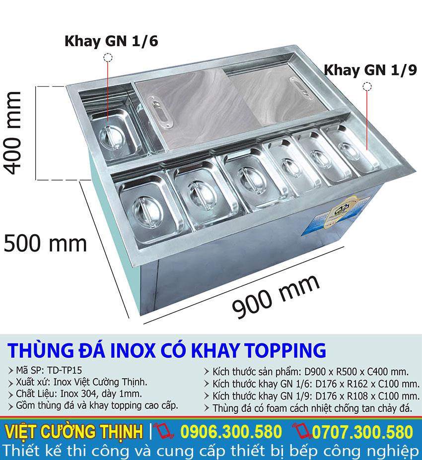 Kích thước tổng thể của thùng đá inox có khay topping âm bàn TD-TP15