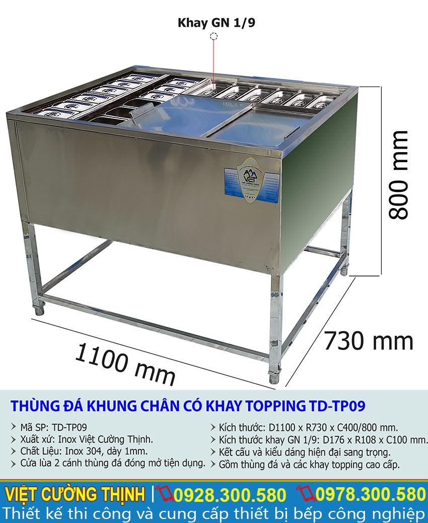Kích thước quầy bar mini có khay topping, thùng đá inox có chân kèm khay topping TD-TP09.