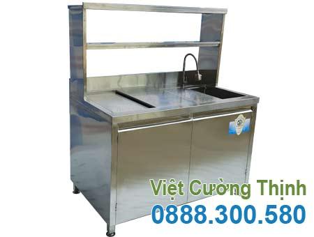 Mẫu quầy pha chế cafe inox | quầy bar trà sữa inox | thiết bị quầy bar bằng inox 304 cao cấp sản xuất Việt Cường Thịnh.