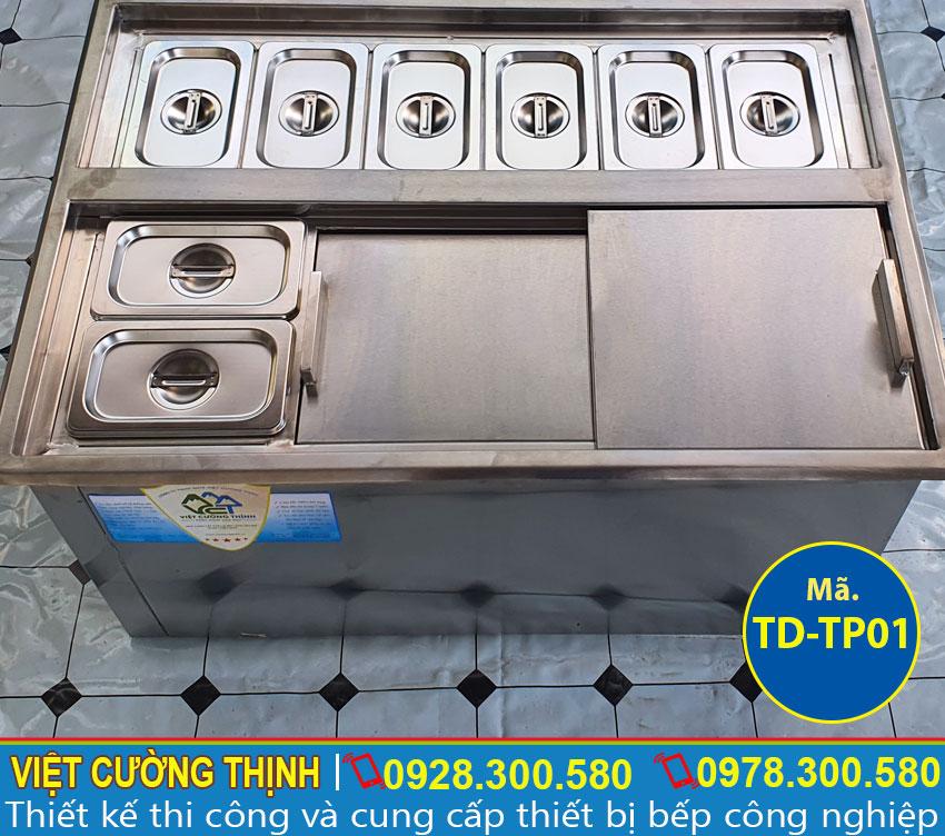 Mẫu thùng đá có khay topping âm bàn | Tủ đá có khay topping âm bàn TD-TP01.