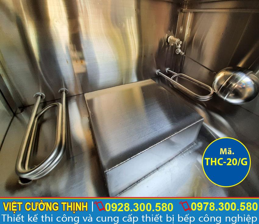 Phao đo mực nước và thanh nhiệt chữ U tích hợp trong tủ nấu cơm công nghiệp 20 kg bằng gas.