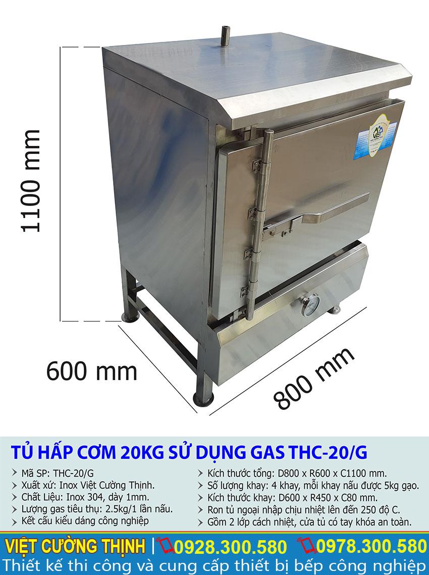 Kích thước tủ nấu cơm công nghiệp 20 kg bằng gas   Tủ hấp cơm công nghiệp 20 kg bằng gas.