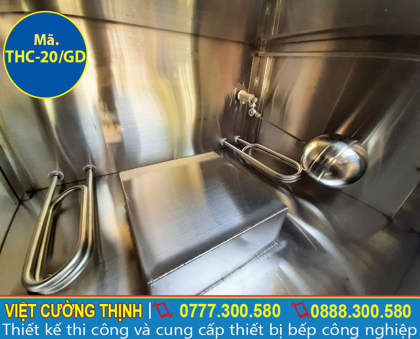 Thanh nhiệt và phao đo mực nước tích hợp trong tủ nấu cơm 20 kg, tủ hấp cơm bằng điện và gas 20 kg.