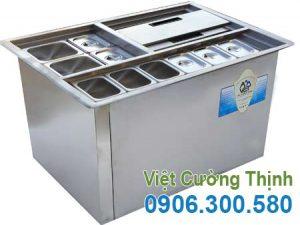 Thùng Đá Âm Bàn Inox Kèm Khay Topping TD-TP03