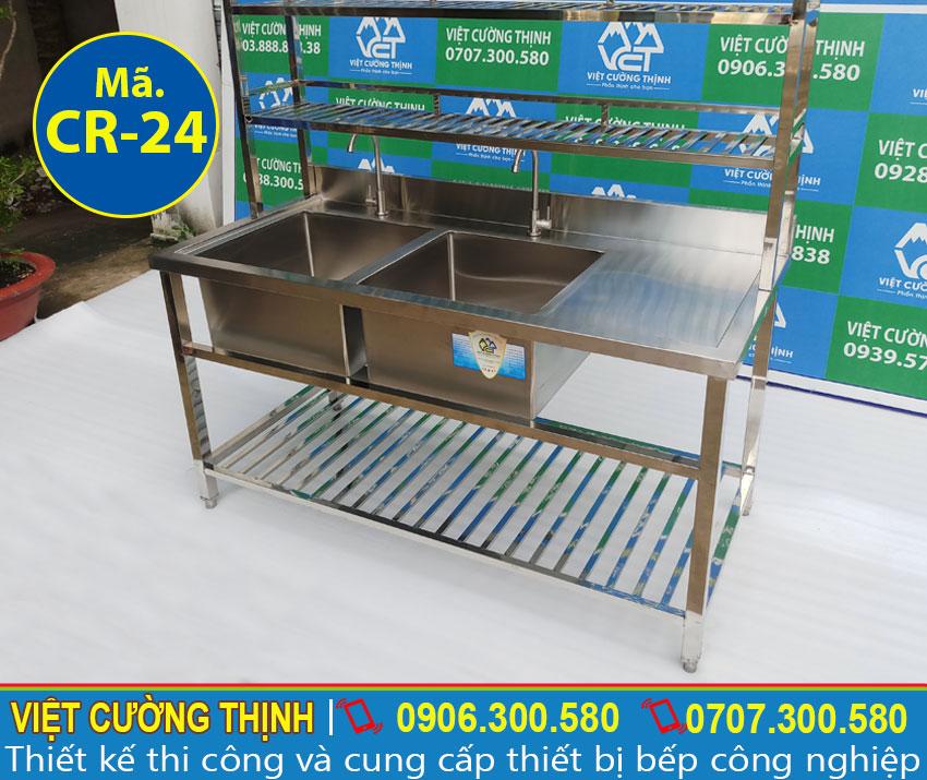 Mẫu chậu rửa bát inox 304 có khung chân sản xuất Inox Việt Cường Thịnh