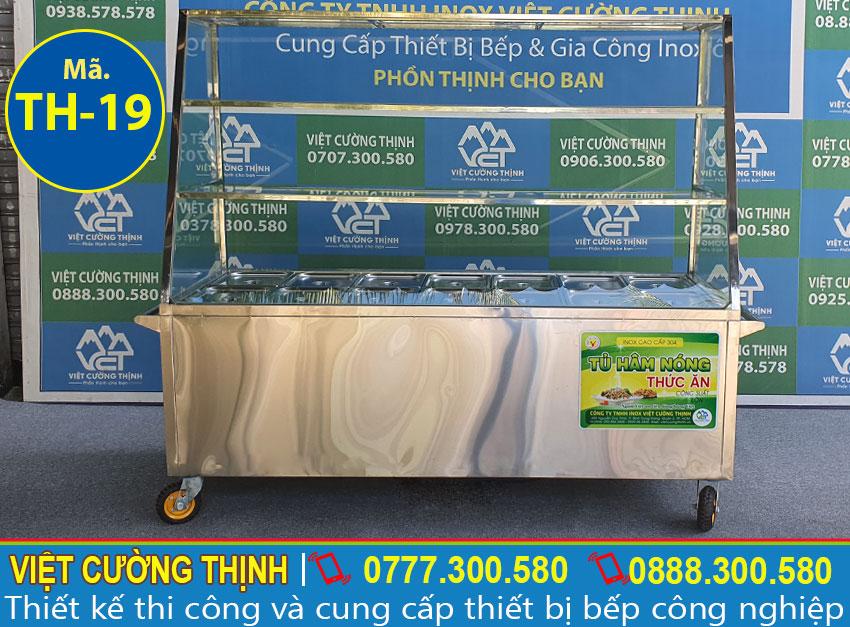 Mẫu quầy bán cơm hâm nóng, tủ hâm nóng 14 khay 3 tầng sản xuất Inox Việt Cường Thịnh.