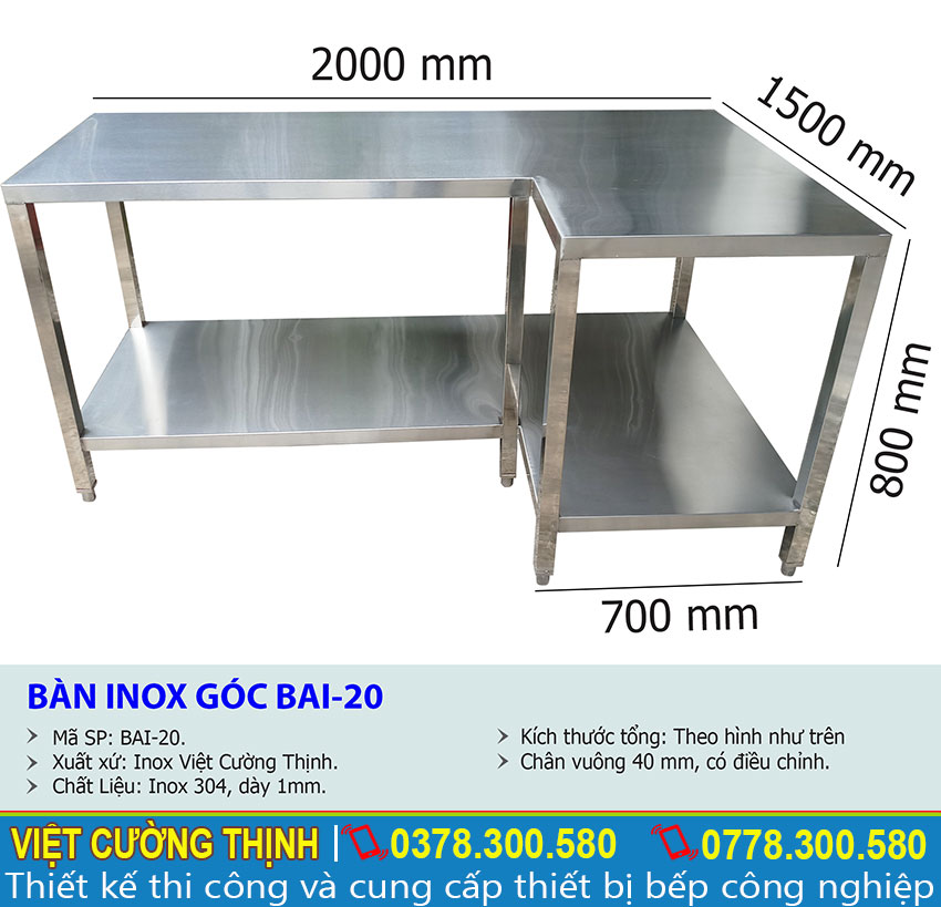 Kích thước tổng thể về bàn góc chữ L inox BA-20