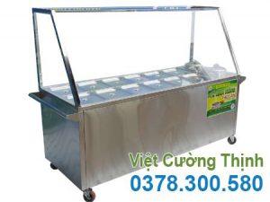 Mẫu tủ bán cơm hâm nóng thức ăn | Quầy hâm nóng thức ăn 12 khay 2 nồi.