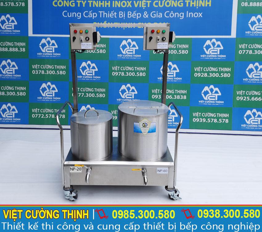 Bộ 2 Nồi nấu nước lèo phở bằng điện   Nồi trụng bánh phở bằng điện liền bệ
