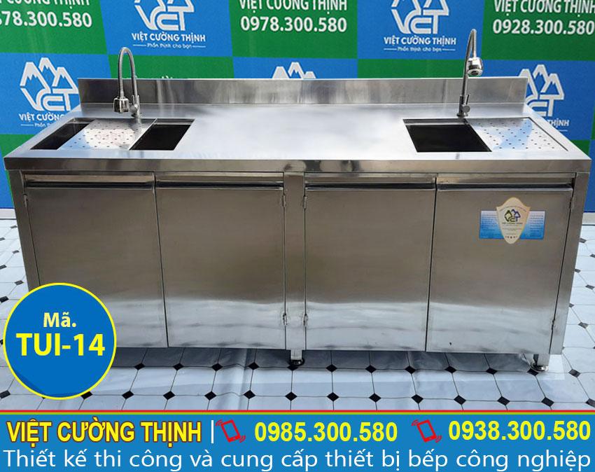 Mẫu tủ đựng chén bát inox có bồn rửa sản xuất Inox Việt Cường Thịnh.