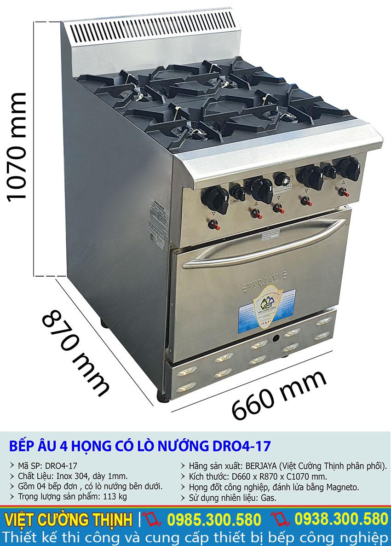 Kích thước tổng thể của bếp âu công nghiệp 4 họng đốt tích hợp lò nướng BERJAYA