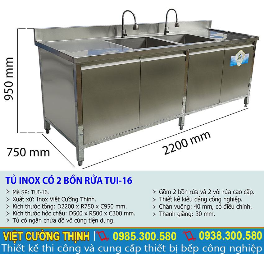 Kích thước tủ chén inox có 2 bồn rửa TUI-16