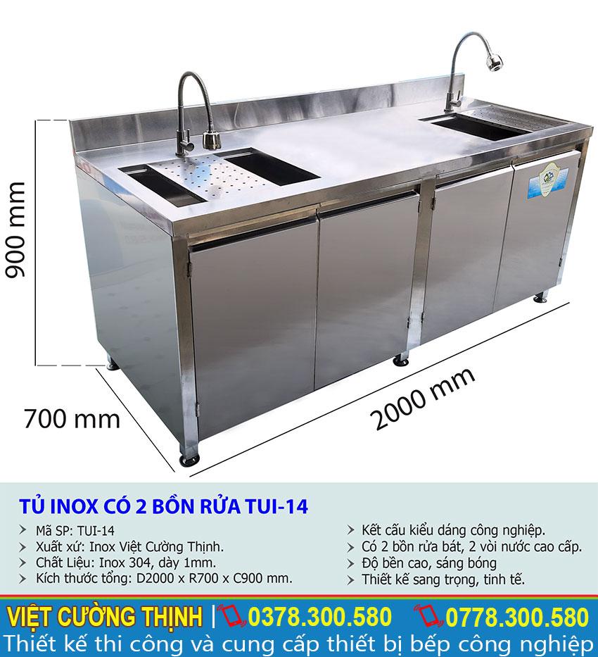 Kích thước tổng thể về tủ đựng chén bát inox có bồn rửa TUI-14
