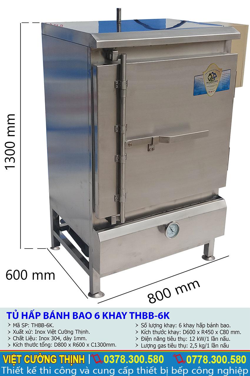 Kích thước tổng thể của tủ hấp bánh bao 6 khay sử dụng điện và gas.