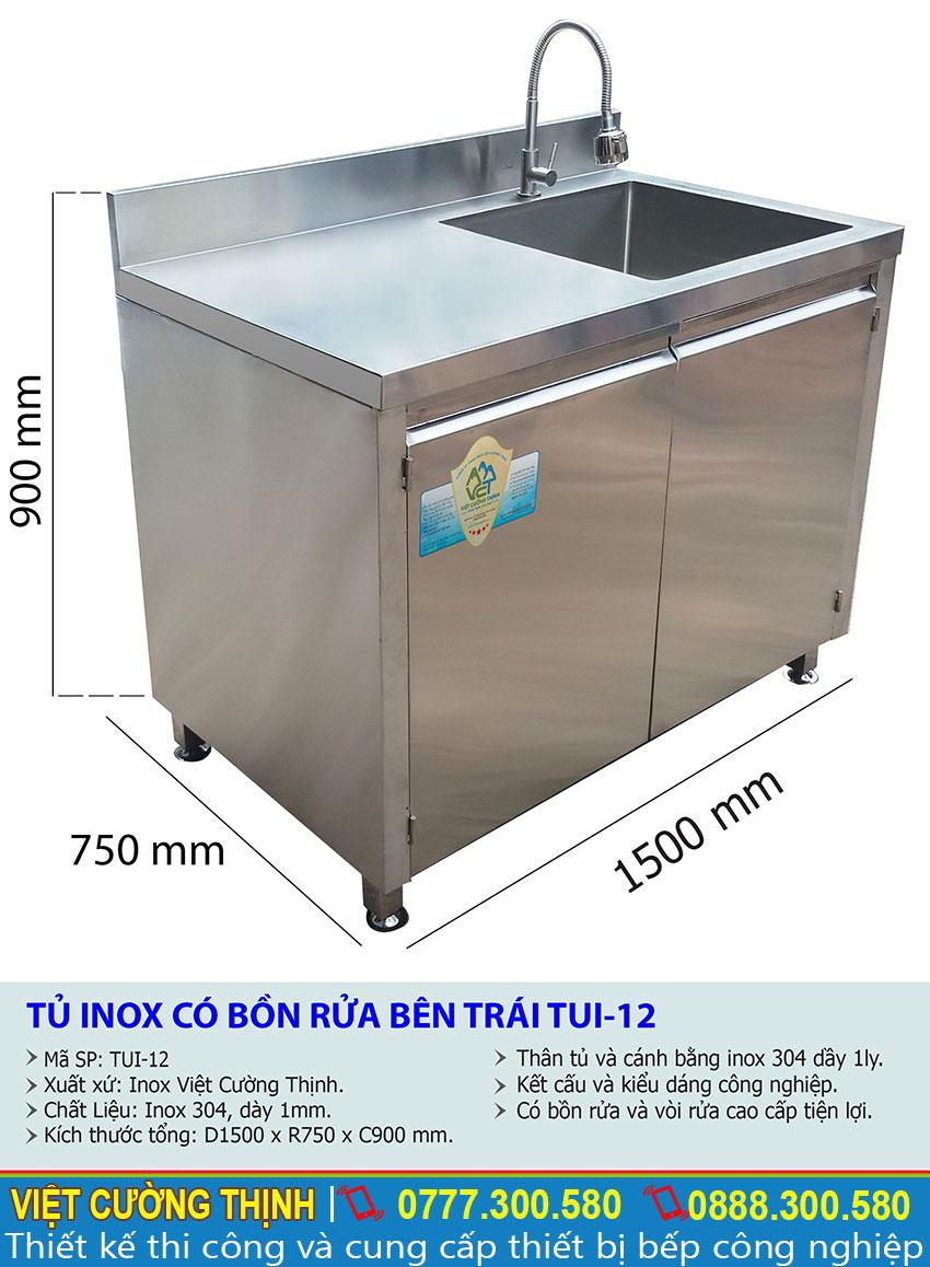 Kích thước tủ inox có bồn rửa TUI-12