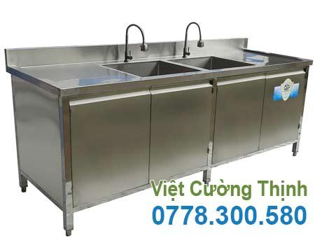 Mẫu tủ đựng chén bát inox có bồn rửa chén TUI-16