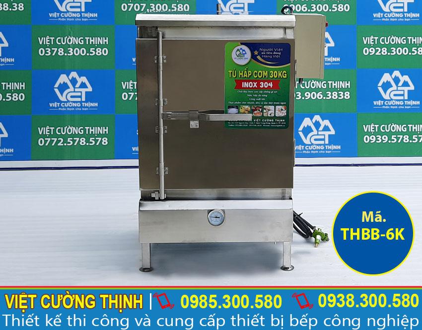 Mẫu tủ hấp bánh bao 6 khay sử dụng điện và gas