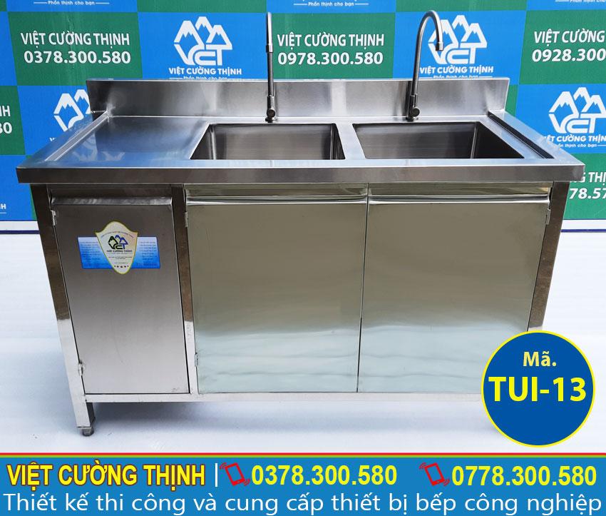 Tủ inox có 2 chậu rửa, mẫu tủ bếp inox cao cấp của Việt Cường Thịnh.