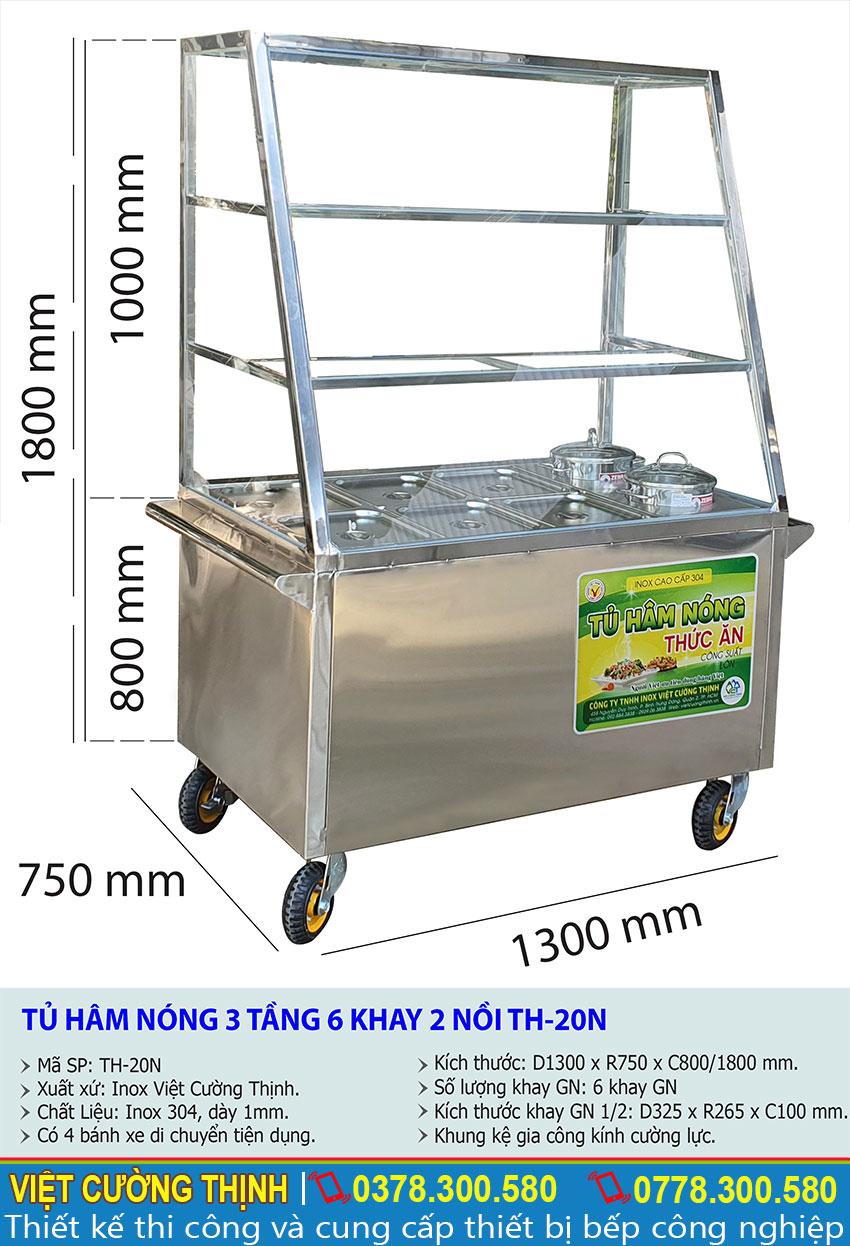 Kích thước quầy giữ nóng thức ăn 6 khay, quầy hâm nóng thức ăn công nghiệp TH-20N.