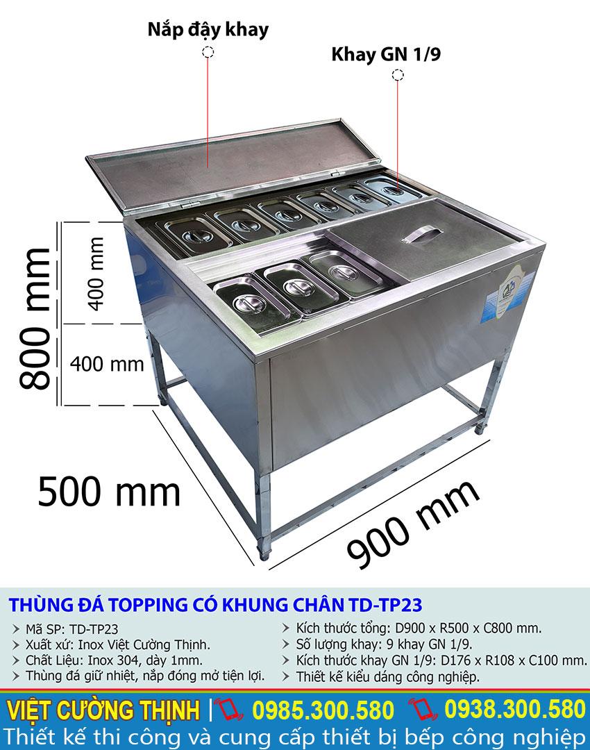 Kích thước thùng đựng đá inox có chân kèm khay topping TD-TP23.