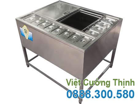 Thùng Đá Inox Khung Chân Có Khay Topping TD-TP26