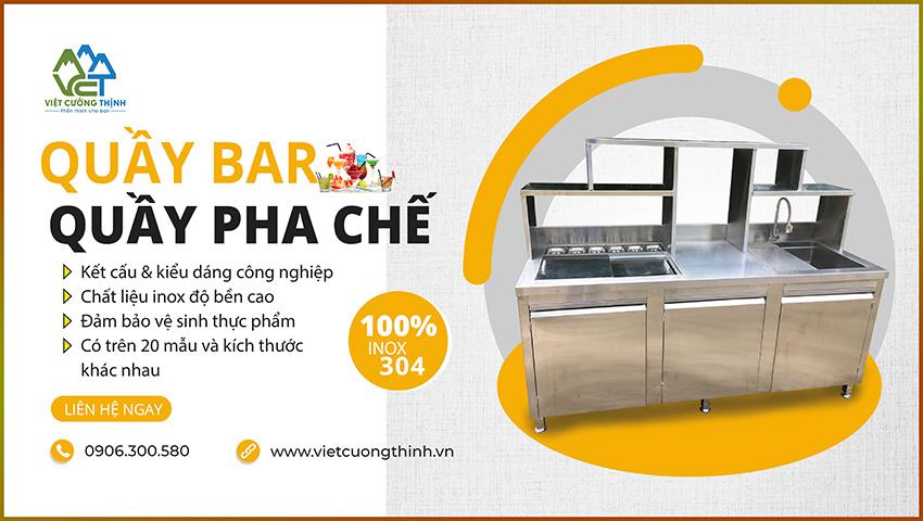 Quầy pha chế trà sữa, quầy bar inox 100% inox 304 cao cấp.